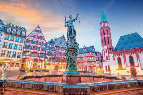 Old town square romerberg in Frankfurt, Germany Canvas Print