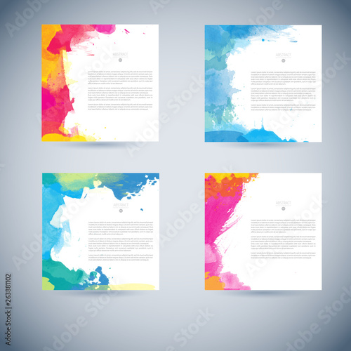 Fototapety, obrazy: Vector set of watercolor background card template