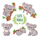 Fototapeta Fototapety na ścianę do pokoju dziecięcego - Vector illustration with koala in various poses.