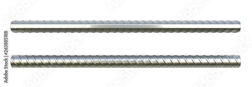 Reinforcement steel bar Steel building armature 3d illustration on white backgro Canvas Print