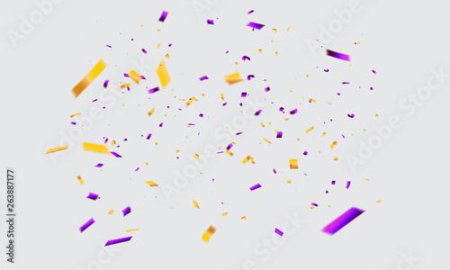 Obraz purple Yellow confetti Celebration carnival ribbons. luxury greeting rich card. - fototapety do salonu