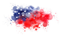 Watercolor Background In USA Flag Colors