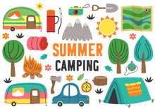 Set Of Isolated Summer Camping...