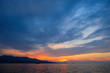 beautiful sunset over the Ionian Sea near the coast of Greece