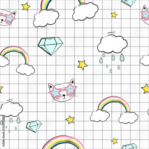 Retro sign cute kids seamless pattern