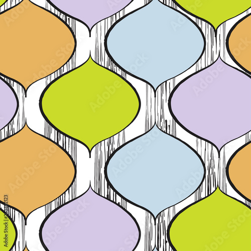 Deurstickers Retro sign trendy seamless pattern