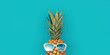 canvas print picture - Funny pineapple with sunglasses