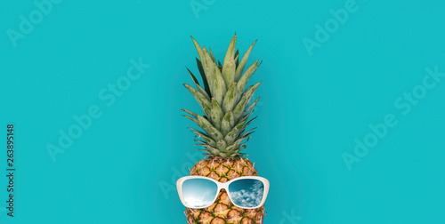 Funny pineapple with sunglasses Wallpaper Mural