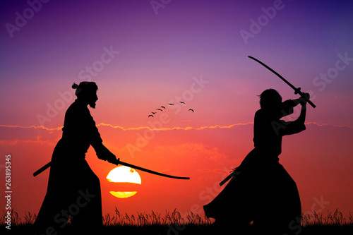 Fotografie, Obraz  two Samurai with sword at sunset