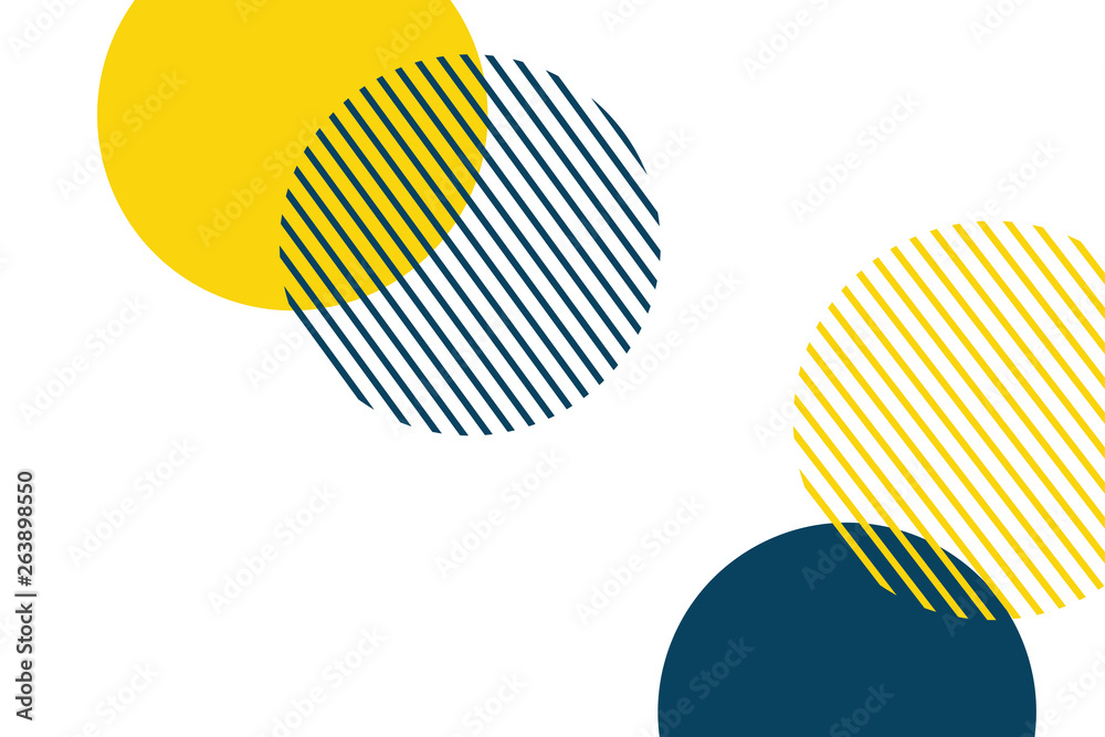 Fototapety, obrazy: Abstract background made with geometric circles in yellow and blue colors. Memphis style modern, playful vector art.
