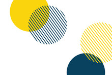 Abstract Background Made With Geometric Circles In Yellow And Blue Colors. Memphis Style Modern, Playful Vector Art.