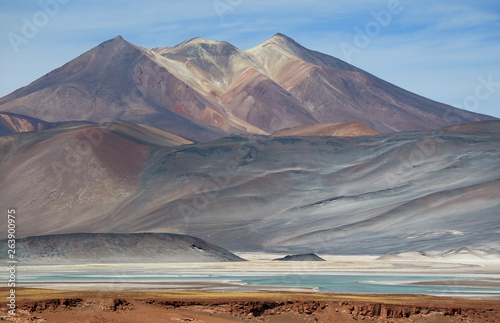 The Picturesque Cerro Medano Mountain with Salar de Talar Salt Lake in the Foreground, Atacama desert, Chile