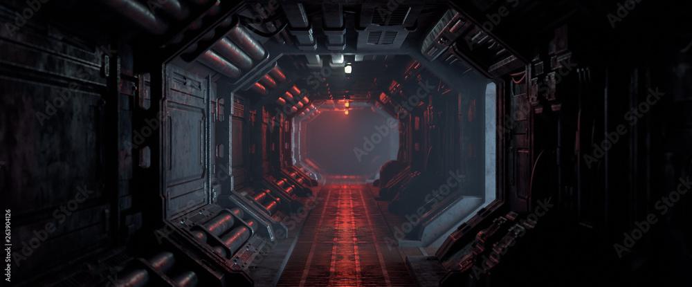 Fotografie, Obraz 3d rendering of realistic sci-fi dark corridor with red light