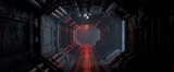 Fototapeta Perspektywa 3d - 3d rendering of realistic sci-fi dark corridor with red light. Futuristic tunnel with grunge metal walls. Cyberpunk tunnel. Interior view. Modern futuristic hall. Empty corridor in a spaceship. Fog.