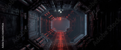 3d rendering of realistic sci-fi dark corridor with red light Wallpaper Mural