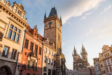 Prague Old Town With Town Hall And Tyn Church