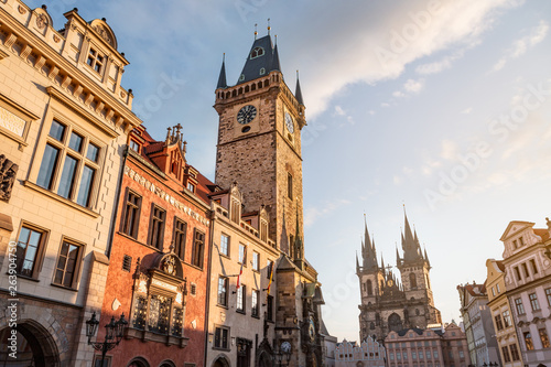 Prague old town with town hall and Tyn church Fototapet