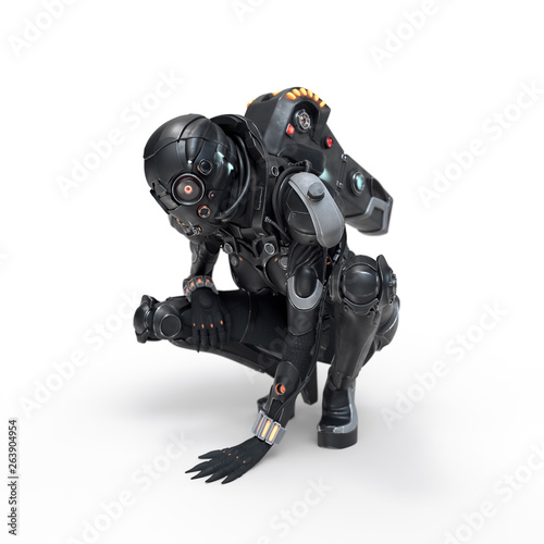 Tableau sur Toile Science fiction cyborg female squatting putting her palm on the floor