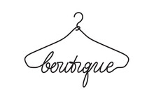 Creative Boutique Logo Design. Vector Sign With Lettering And Hanger Symbol