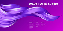 Color Abstraction. Purple Wavy Fluid Shapes. Trendy Vector Illustration EPS10 For Your Creative Design. Beautiful Interweaving. Color Poster With Flowing Liquid For Business Card, Banner, Cover.