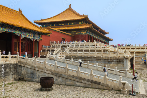 Fotografie, Obraz  Beijing, China - May 16, 2018: Tourists in Gugong Forbidden City Palace