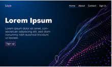 Blue Web Homepage Template With Icons And Abstract Digital Neon Pattern.