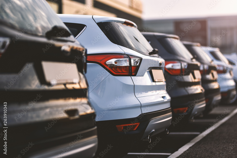 Fototapety, obrazy: cars parked in row on outdoor parking