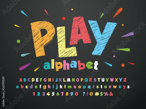 Bright colorful chalk board style alphabet design