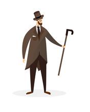 Fashioned Dandy Cartoon Character. Proud Gentleman