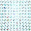 100 trip icons set in cartoon style for any design vector illustration