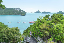 Aerial  Landscape View From Mae Koh Island View Point At Mu Ko Ang Thong Island National Park, Thailand On Sunny Day