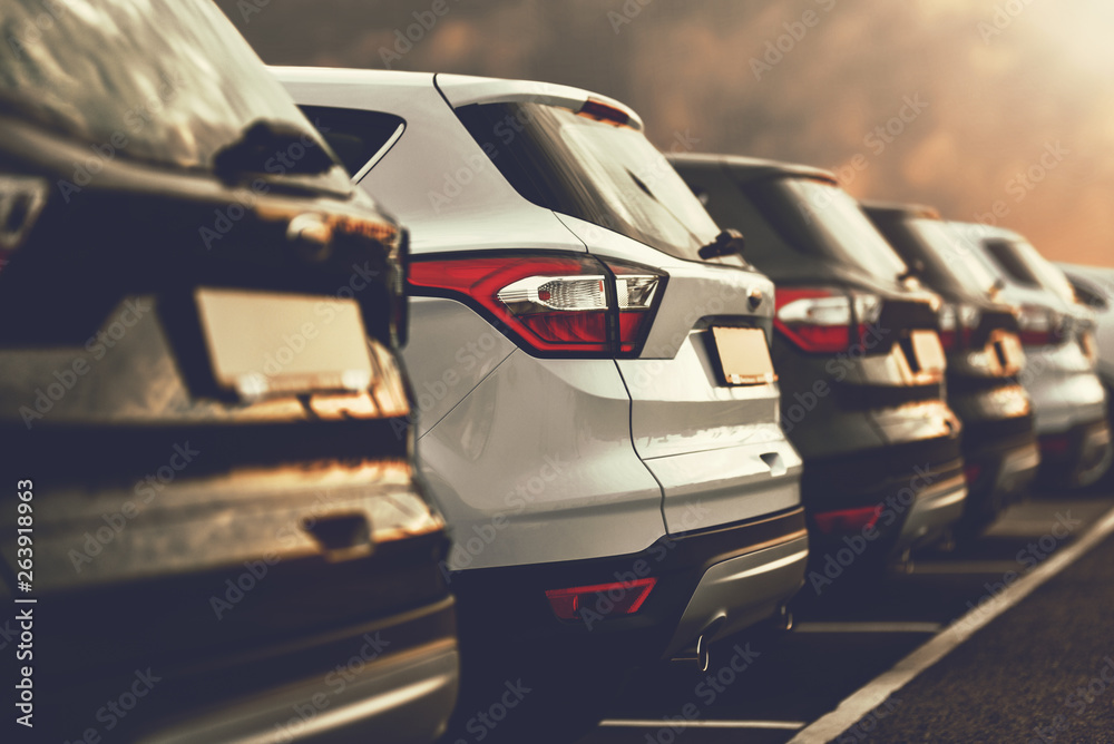Fototapeta SUVs parked in a car dealership