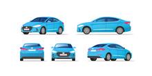 Car Vector Template On White Background. Business Sedan Isolated. Vector Illustration.