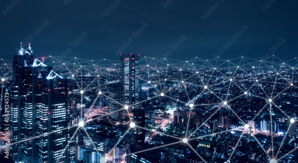 Fototapety, obrazy: Telecommunication network above city, wireless mobile internet technology for smart grid or 5G LTE data connection, concept about IoT, global business, fintech, blockchain