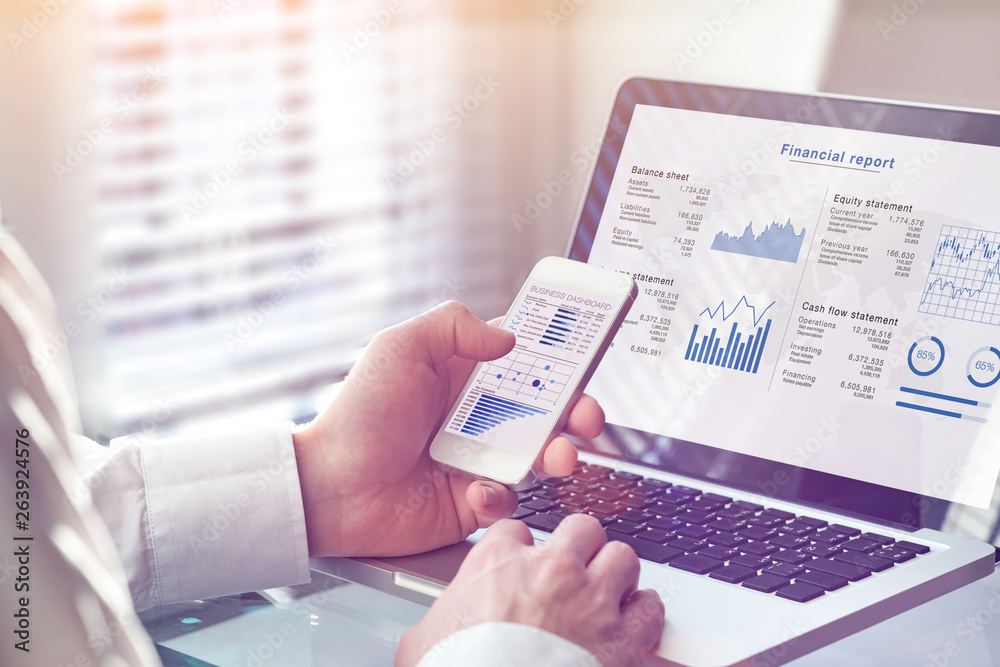 Fototapety, obrazy: Accountant working on consolidated financial report of corporate operations, consultant auditing finance data (balance sheet, income statement) on screen with business charts, fintech, manager