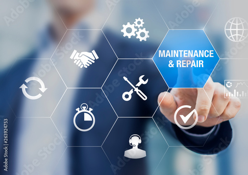 Maintenance and repair concept with icons about assistance and servicing of equi Fototapeta