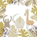 Fototapeta Fototapety na ścianę do pokoju dziecięcego - Cute safari animals.