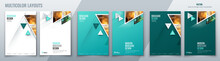Brochure Template Layout Design With Triangles. Corporate Business Annual Report, Catalog, Magazine, Flyer Mockup. Creative Modern Bright Concept Triangle Shape