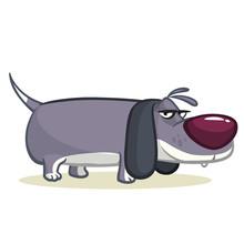 Funny Beagle Dog Cartoon Illustration