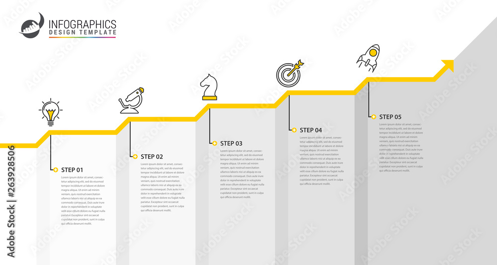 Fototapeta Infographic design template. Creative concept with 5 steps