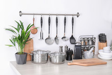 Set Of Clean Cookware, Dishes,...