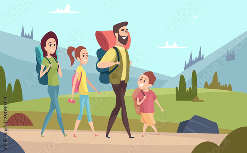 Printed kitchen splashbacks Light blue Family hiking background. Walking couples in mountains kids with parents tourists travellers outdoor adventure vector characters. Illustration of family hiking travel summer