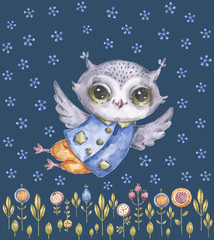 Cute childish watercolor owl, floral background