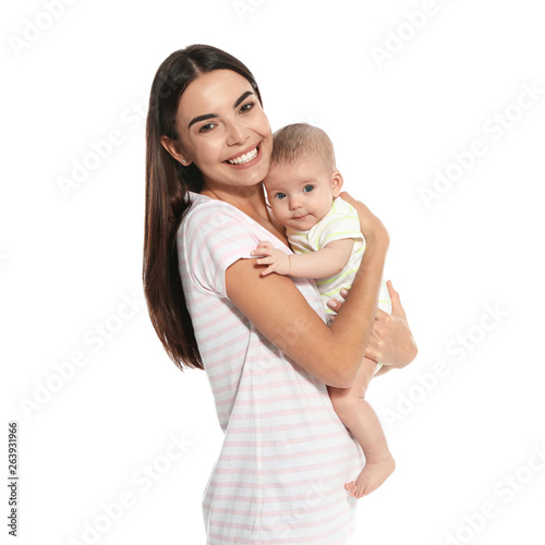 Obraz Portrait of happy mother with her baby isolated on white - fototapety do salonu