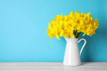 Bouquet Of Daffodils In Jug On...