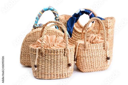 women fashion handbag with Woven or straw bag handmade bag Thai handicraft weave Fototapet