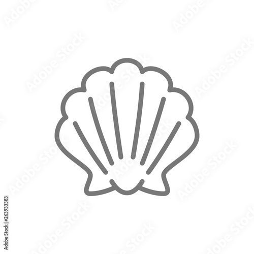 Fotomural Shell, seashell line icon.