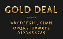Vector Of Modern Gold Deal Alphabet And Font
