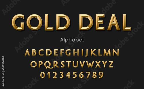 Obraz Vector of modern gold deal alphabet and font - fototapety do salonu