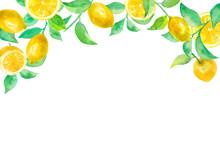 レモンと葉のアーチ型フレーム。水彩イラスト。